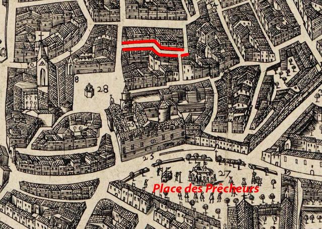 La rue et le quartier de l'ancien Palais Comtal sur un plan de 1590 Plan: Maretz - Gallica-BNF (Voir dans les sources)