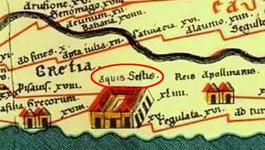 Aix sur un détail de la Table de Peutinger - La ville y est indiquée avec l'appellation