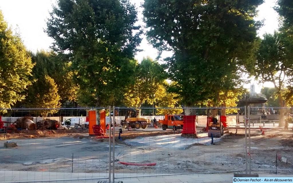 Les travaux de l'espace Cézanne le 12 août 2015