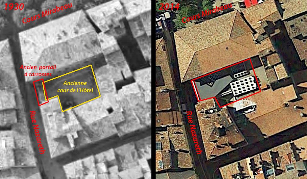 - A gauche: le portail et l'arrière cour encore en place en 1930 - Photo: © IGN-GEOPORTAIL / 1930 - A droite: la même vue en 2014. Le magasin a comblé le vide - Photo Google Earth