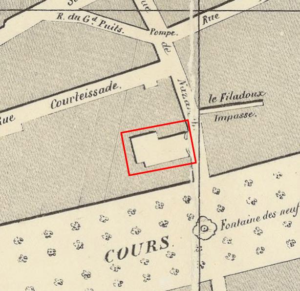 Le portail et l'arrière cour de l'Hôtel vers 1850 Plan: Voir dans les sources
