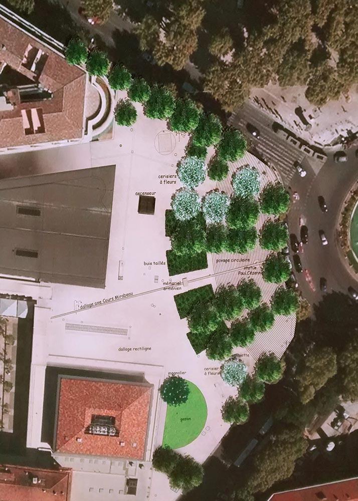 Le projet de requalification de l'Espace Cézanne - (illustration visible sur place) Photo: Ville d'Aix en Provence