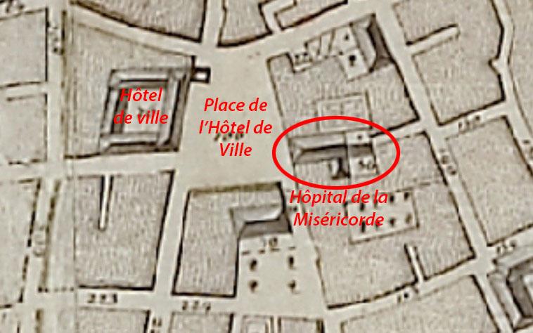 La quartier de l'hôtel de ville d'Aix en 1753 et l'emplacement de l'hôpital de la Miséricorde par Devoux