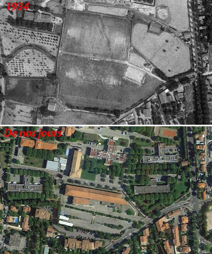 L'emplacement des terrains de sports du Pigonnet en 1934 et de nos jours - Photo du haut: © IGN-GEOPORTAIL/1934 - Photo du bas: Google Earth