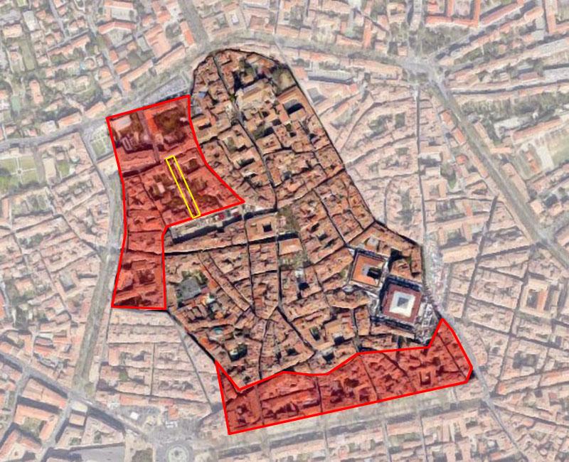Aix en Provence au XIVe siècle, la zone de la future rue du Cancel à fait son apparition vers cette période. Photo: Google Earth