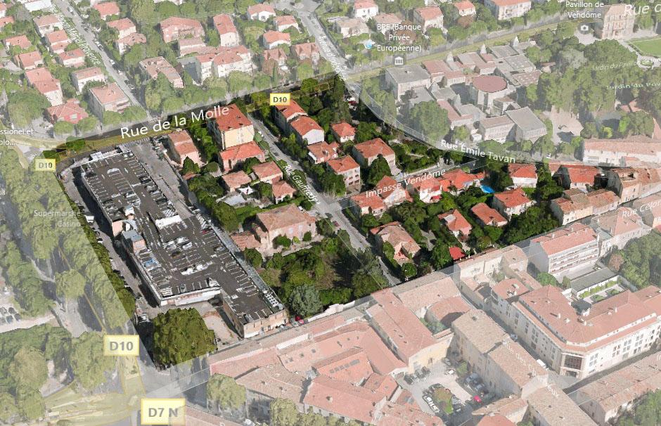 La zone dans laquelle se situait le premier couvent des Carmes à Aix au XIIIe siècle.