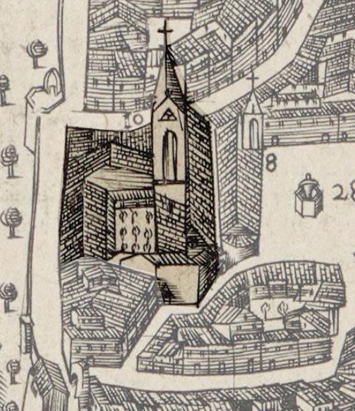 Représentation du couvent des Carmes sur un plan de Maretz - 1590