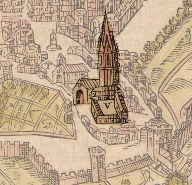 Représentation du couvent des Carmes sur un plan de Belleforest - 1575