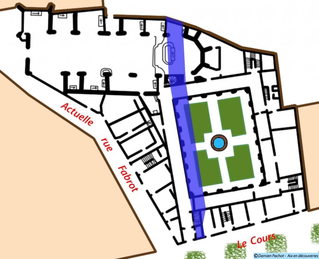 Le tracé du Passage Agard superposé au plan du couvent des Carmes.