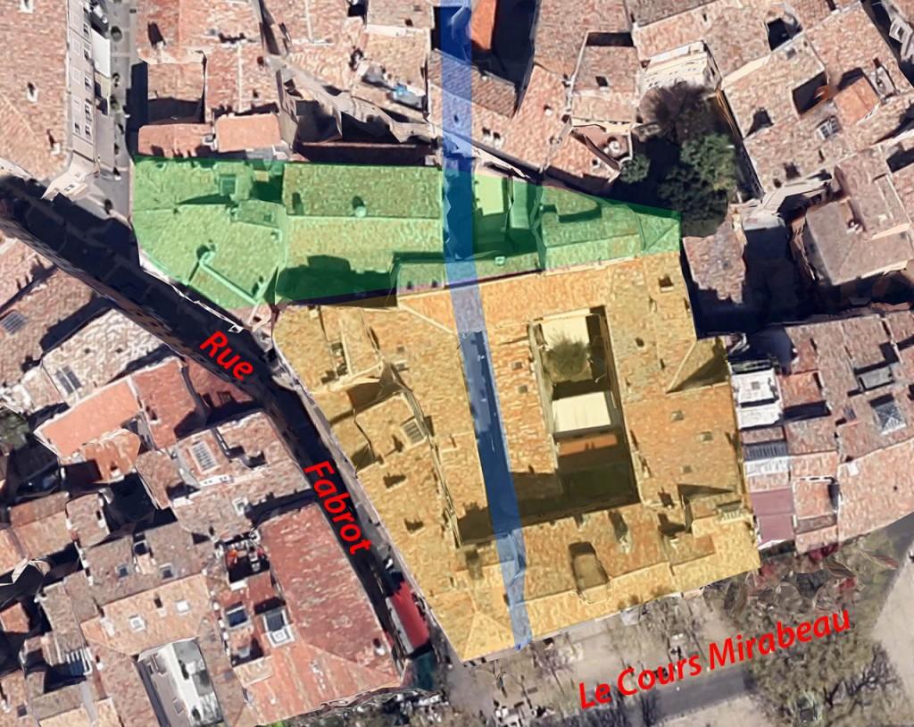 Vue aérienne de l'ancien couvent des Carmes - Photo: Google Earth