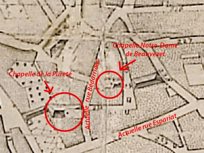 Les deux chapelles sont bien présentes au XVIIIe siècle - Aix en 1753 par Esprit Devoux