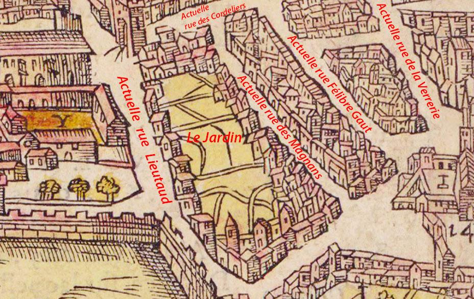La zone vers le XVIe siècle. Le jardin est clairement représenté - Plan de Belleforest en 1575