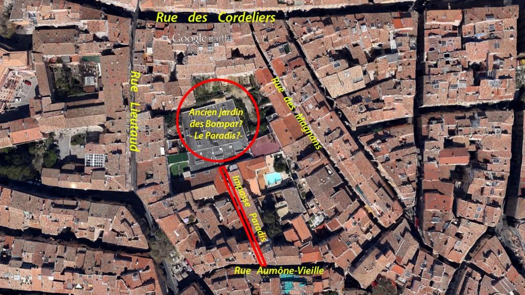 Vue aérienne de la zone de l'impasse Paradis et de l'ancien jardin des Bompar - Photo: Google Earth