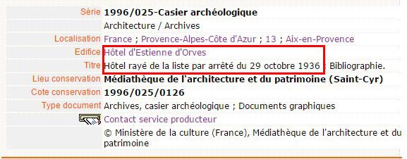 La mention de l'arrêté du 19 octobre 1936 - Source: Médiathèque de l'architecture et du patrimoine.