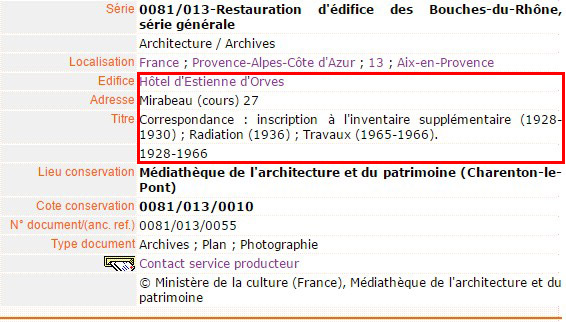 Les grandes dates de l'hôtel au XXe siècle - Source: Médiathèque de l'architecture et du patrimoine