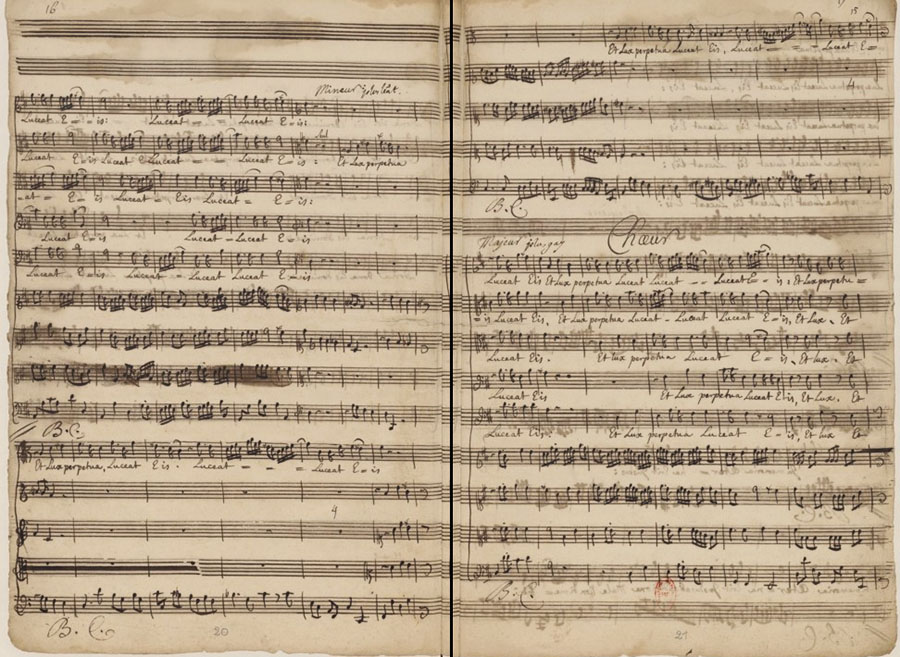 Manuscrit du requiem rédigé par Campra - Photo : B.N.F. / Gallica (voir sources)