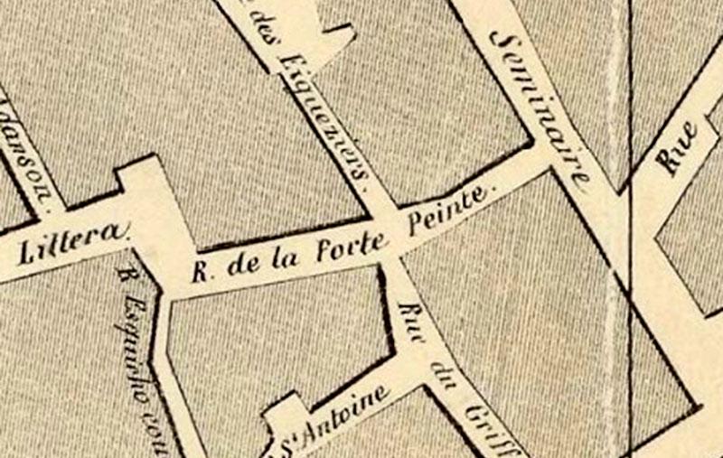 La rue de la Porte-Peinte avant de prendre le nom d' André Campra - Plan : Gasquy / B.N.F.