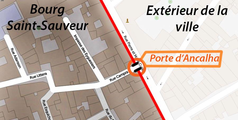 L'emplacement de l'ancienne porte d' Ancalha - Plan : OpenStreetMap
