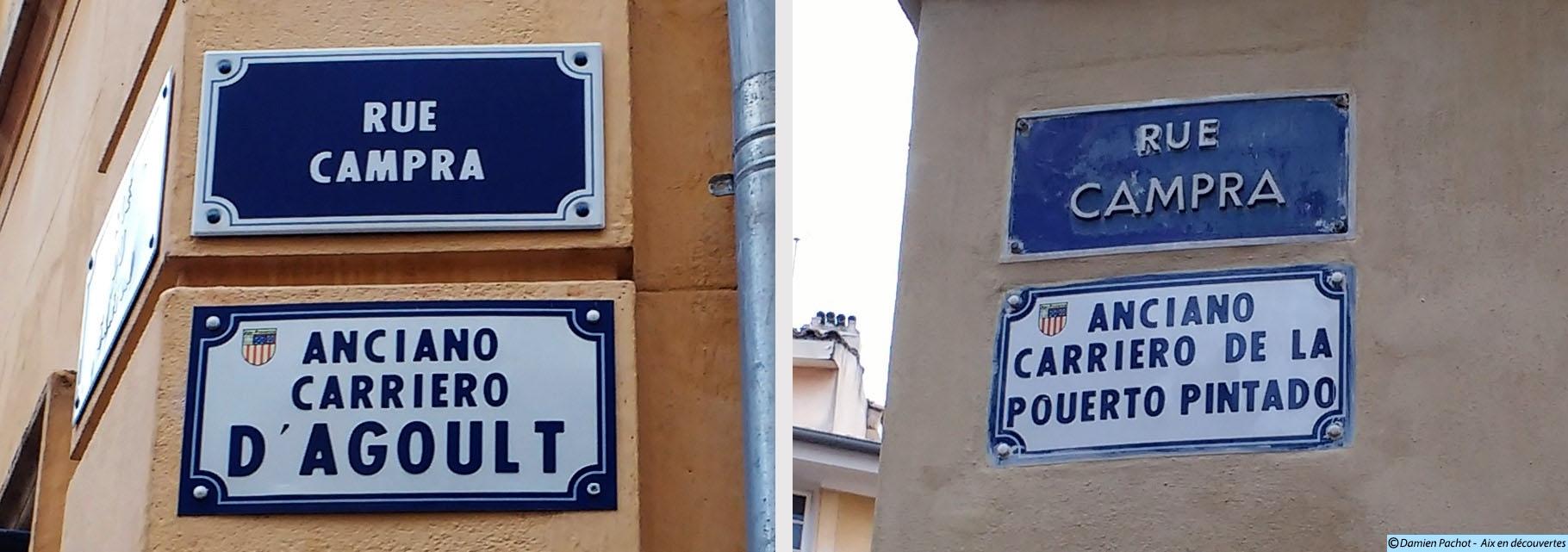 Les anciennes appellations de la rue Campra sont encore présentes - Photo : © Aix en découvertes