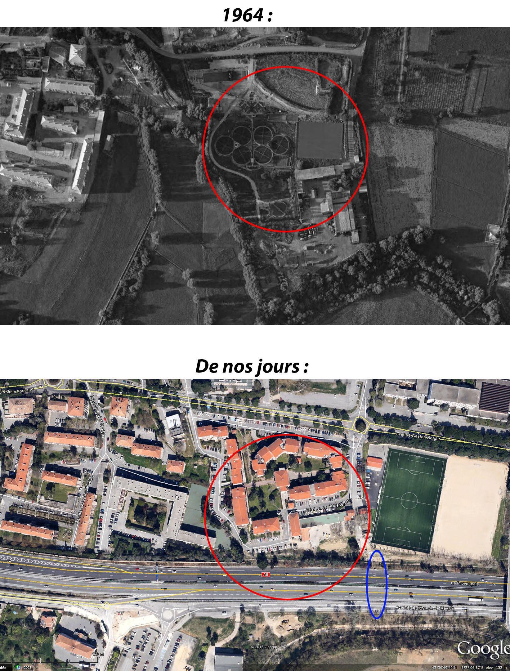 Le site de l'ancienne station d'épuration des Fenouillères en 1964 et de nos jours - Photos : Google Maps et © IGN GEOPORTAIL/1964