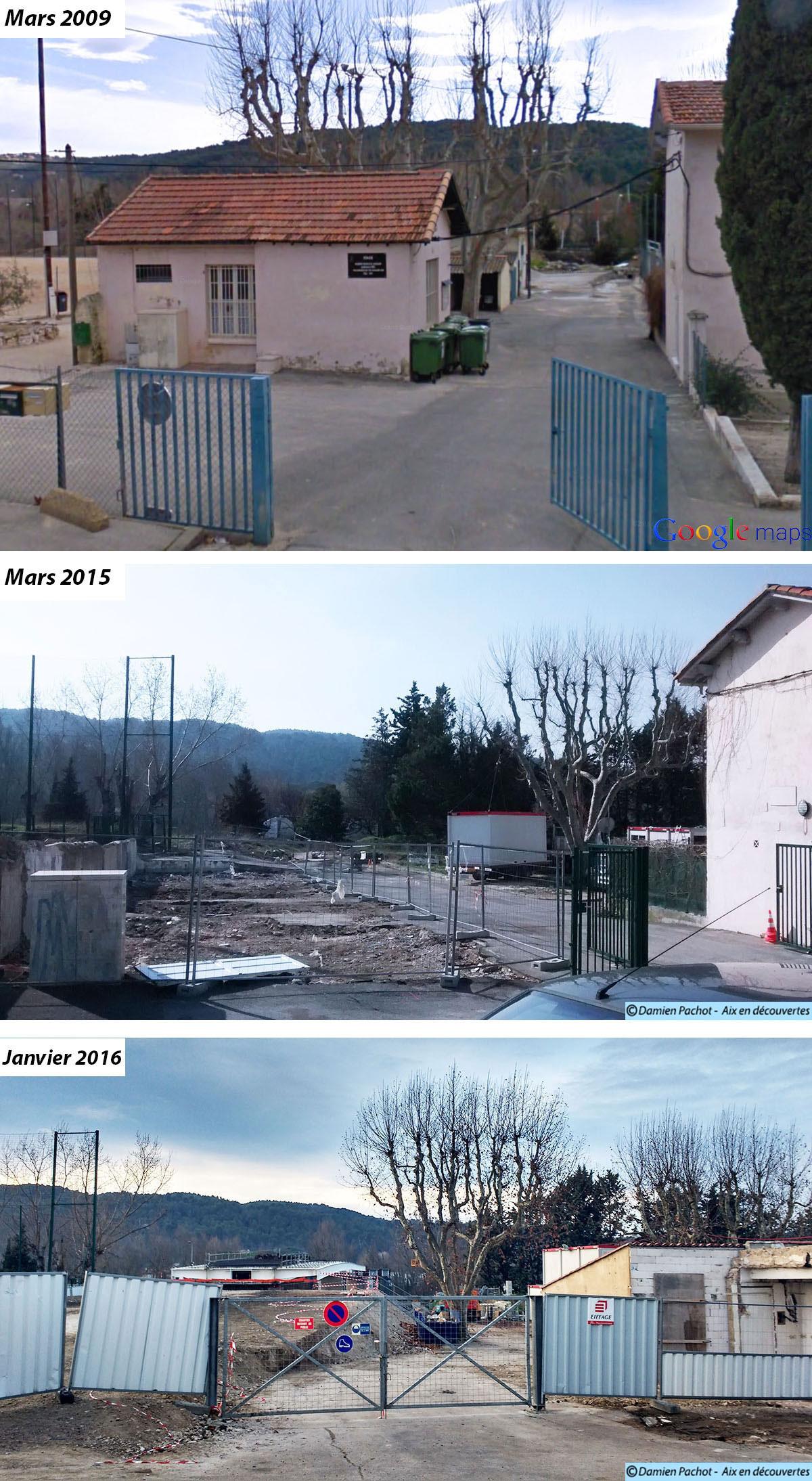 Le futur embranchement de la passerelle et le tablier vus de la résidence Li Passeroun – Photos : © Aix en découvertes et Google Maps