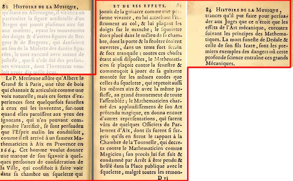 Le trois pages citant l'histoire d'Allix - (Jacques Bonnet Histoire de la musique - Voir dans les sources)
