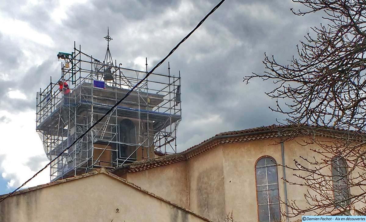 Les travaux vus depuis le nored est de l'église
