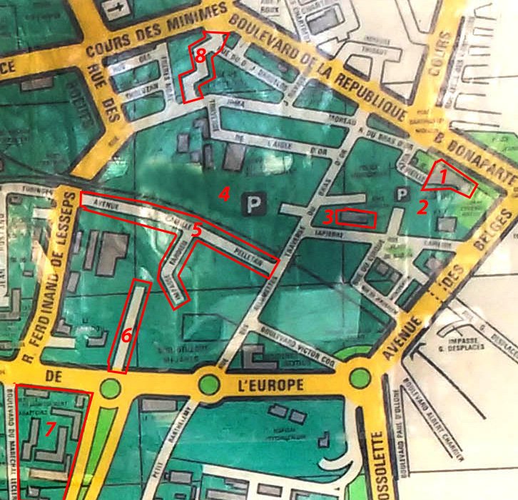 Vue rapprochée du plan sur un quartier qui a bien changé depuis