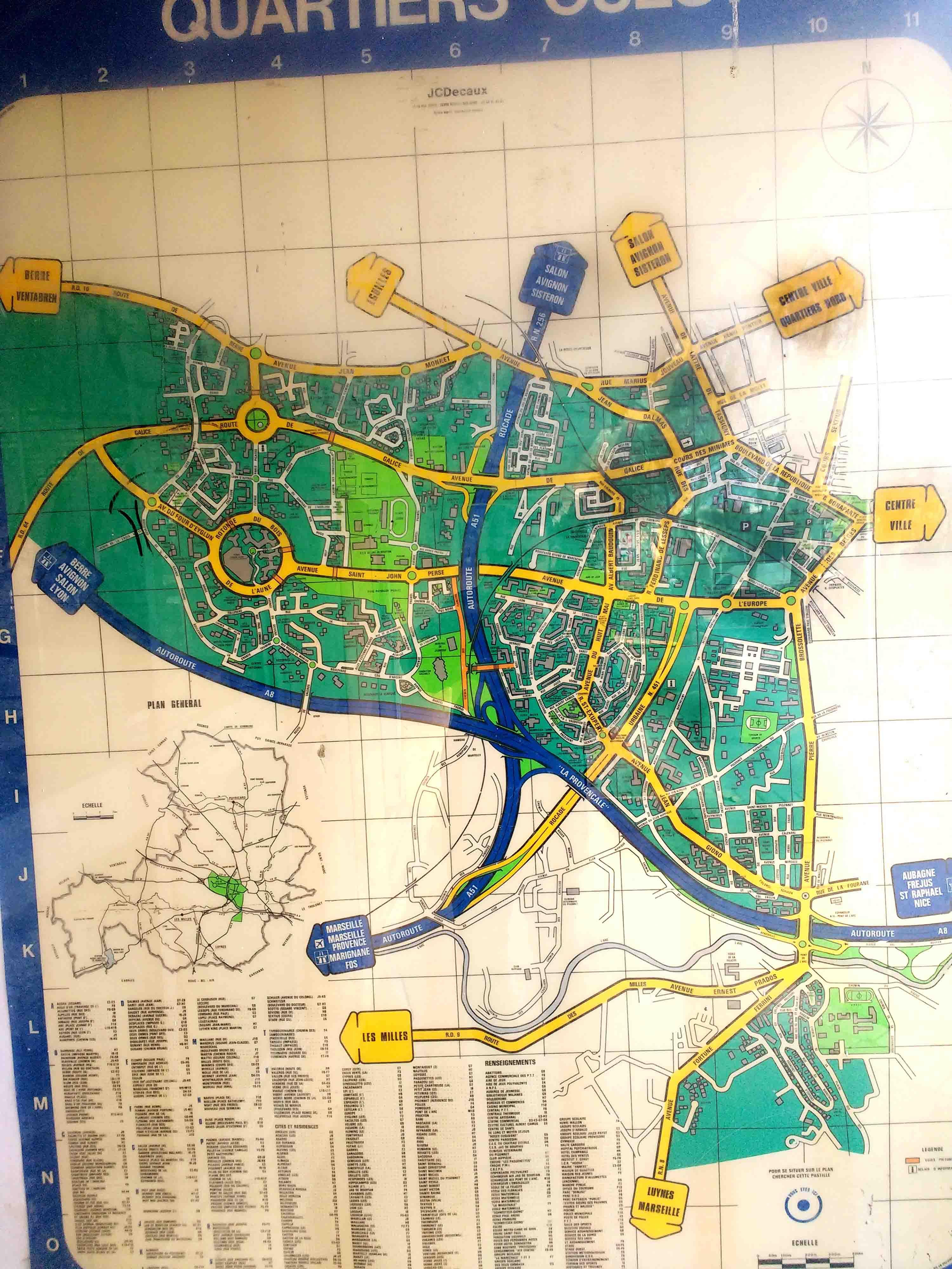 Le plan visible près de la mairie annexe d'Encagnane