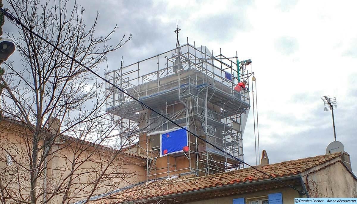 Les travaux vus depuis le sud est de l'église