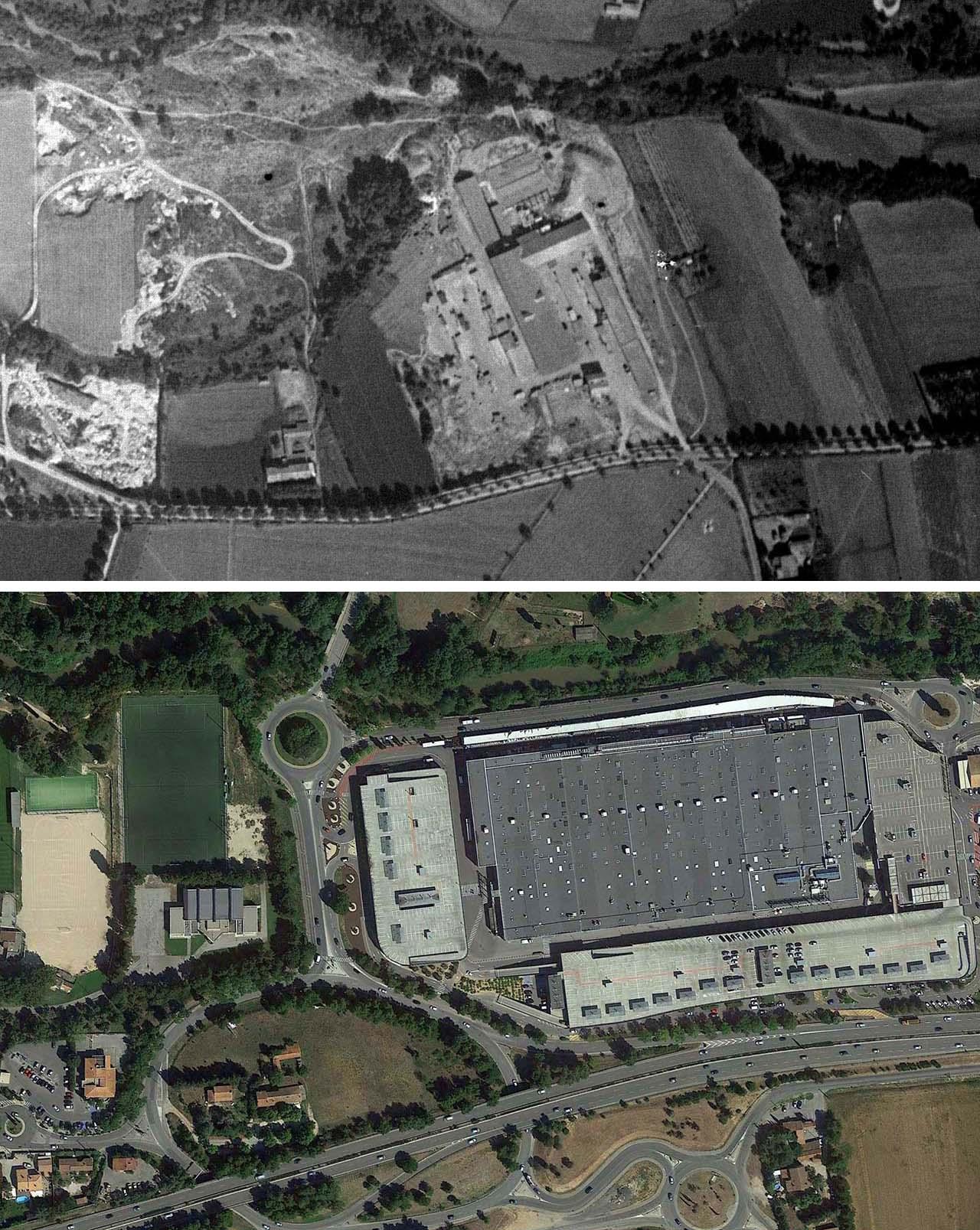 L'ancienne tuilerie en 1933 et de nos jours - Photo du haut : © IGN GEOPORTAIL 1933/ Photo du bas © Google Earth