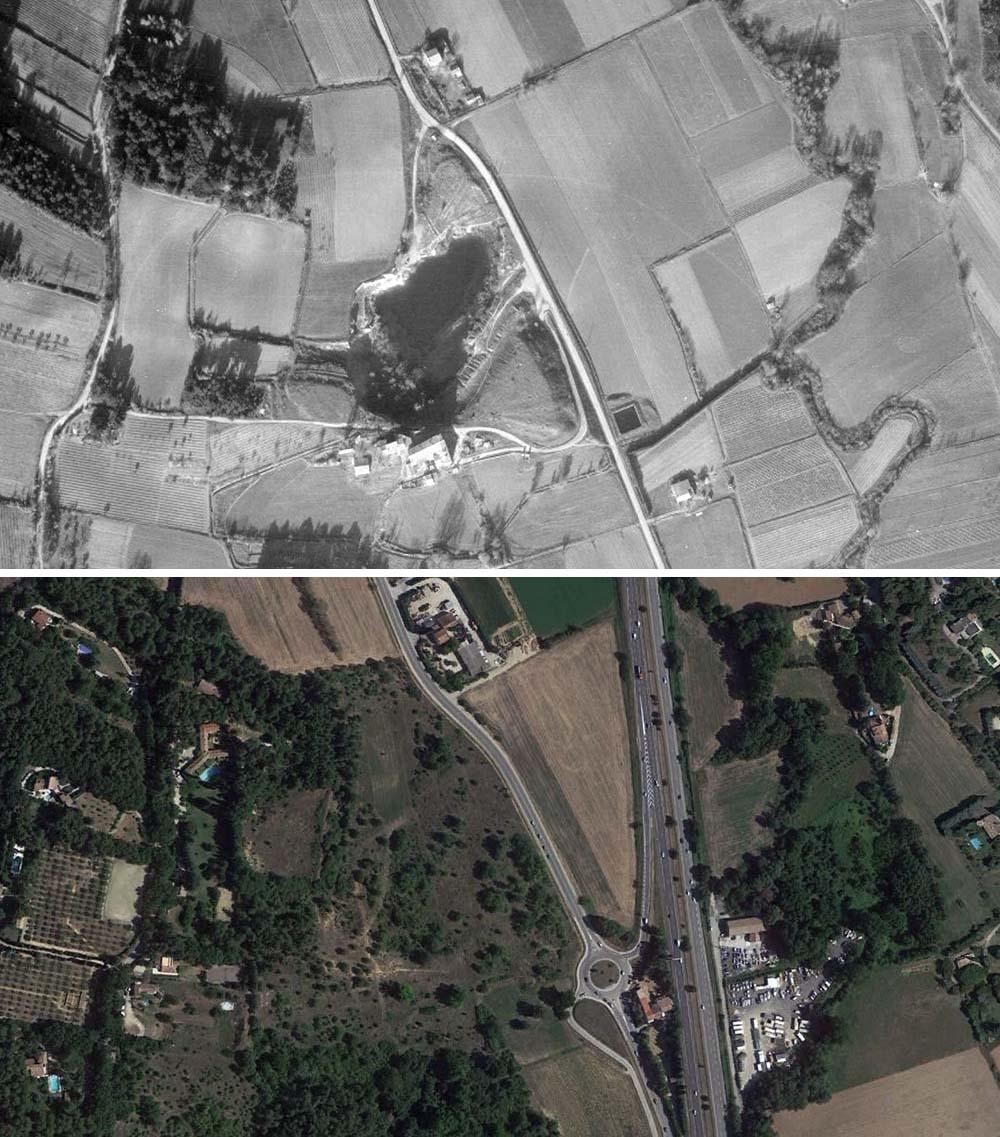 L'ancienne carrière qui se trouvait le long de la route de Gardanne (le lieu vu en 1955 et de nos jours) - Photos : © Geoportail 1955 et © Google Earth