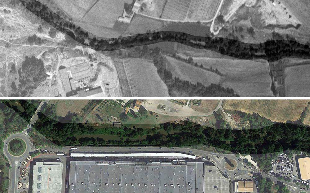 Le tracé de l'Arc est plus droit de nos jours - © IGN GEOPORTAIL 1933 et © Google Earth
