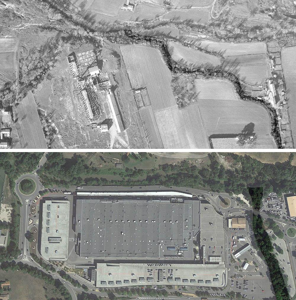 Le tracé de la Luynes n'est plus du tout le même depuis l'installation des commerces - Photos © IGN GEOPORTAIL 1955 et © Google Earth