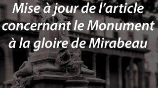 Mise à jour de l'article concernant le Monument à la gloire de Mirabeau