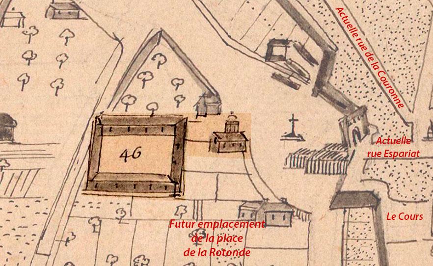 L'ancien couvent des Carmes Déchaussés était près de l'emplacement de la place de la Rotonde - Pitton- 1666 - © BNF / Gallica