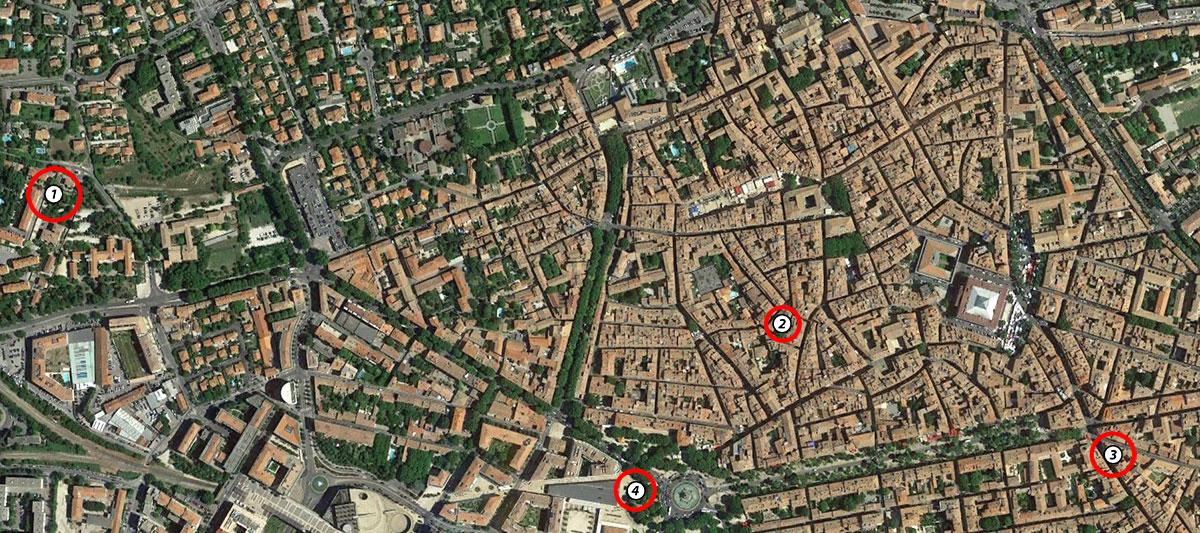 Les lieux évoqués dans l'article - Photo © Google Earth
