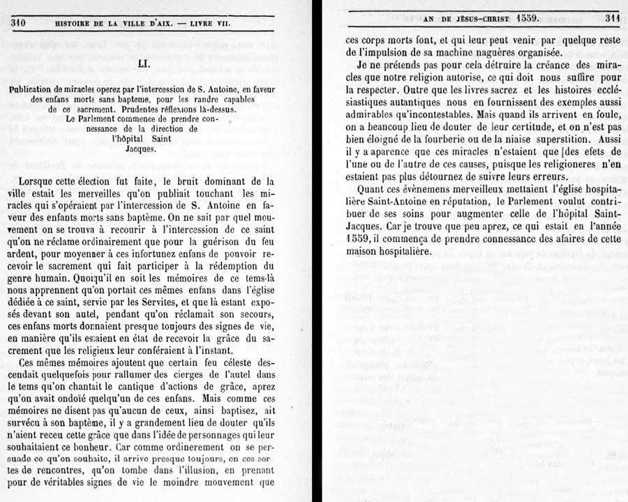 Le texte original extrait de « Histoire de la ville d'Aix » pages 310-311 par P-J. de Haitze – XVIIIe s. – E-Corpus