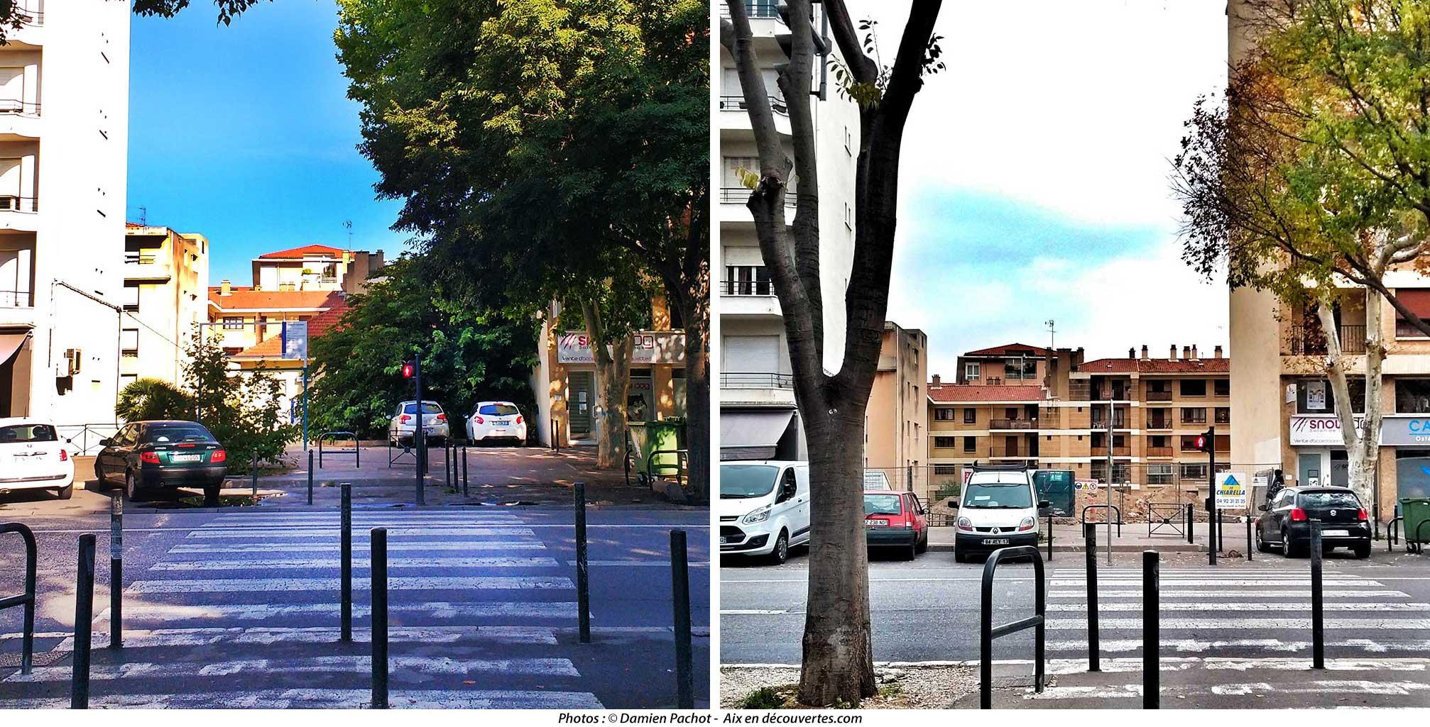 Comparaison vue de face depuis l'avenue des Belges
