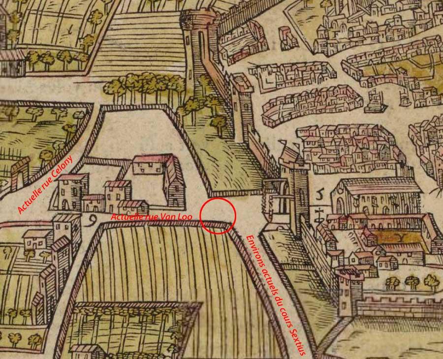 Le quartier au XVIe siècle avant l'installation d'une fontaine - Plan Belleforest - 1575 - © Gallica / BNF