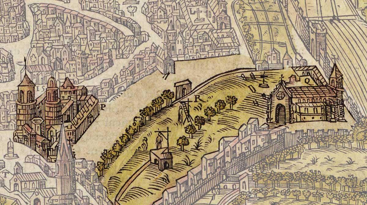 La zone de la place des prêcheurs au XVIe siècle © Gallica - BNF (Belleforest 1575)