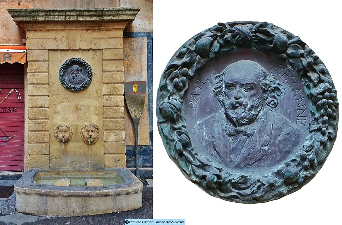 La fontaine des Bagniers et le médaillon représentant Cézanne