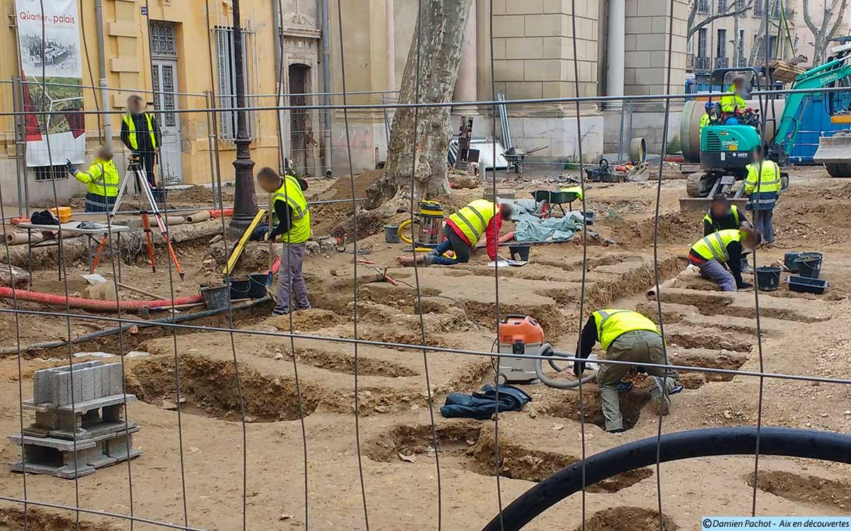 Les fouilles à l'emplacement de l'ancien cimetière des Prêcheurs - Photo prise le 8 février 2017