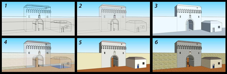 Étapes de modélisation d'une ancienne porte
