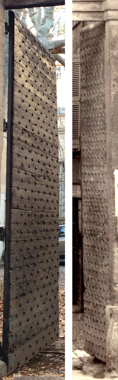 Comparaison entre la porte de la cour de l'hôtel Bonnet de la Baume et l'ancienne porte Notre Dame (Cliché de gauche: D. Pachot / Cliché de droite détail Claude Gondran – Bibliothèque Méjanes, Aix-en-Provence Cote : PHO. GON. (1), 11