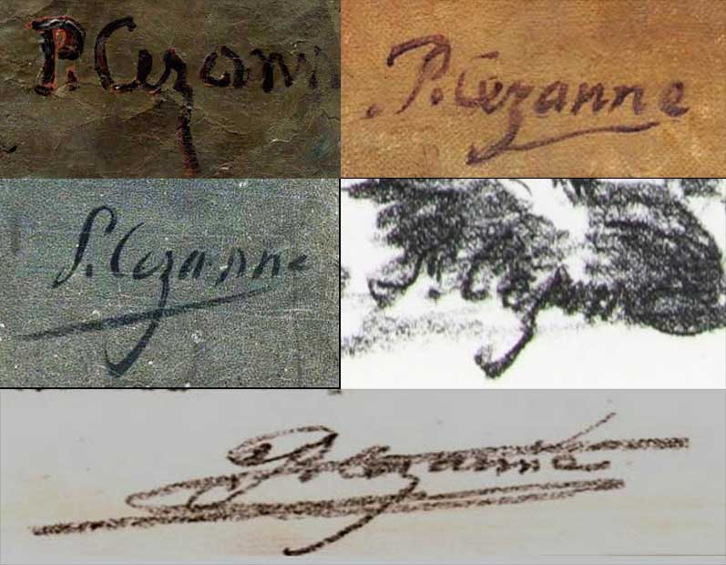 Quelques signatures de Paul Cezanne