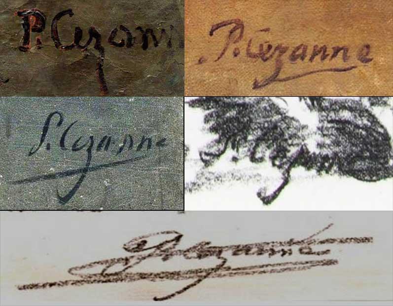 Quelques signatures de Paul Cezanne