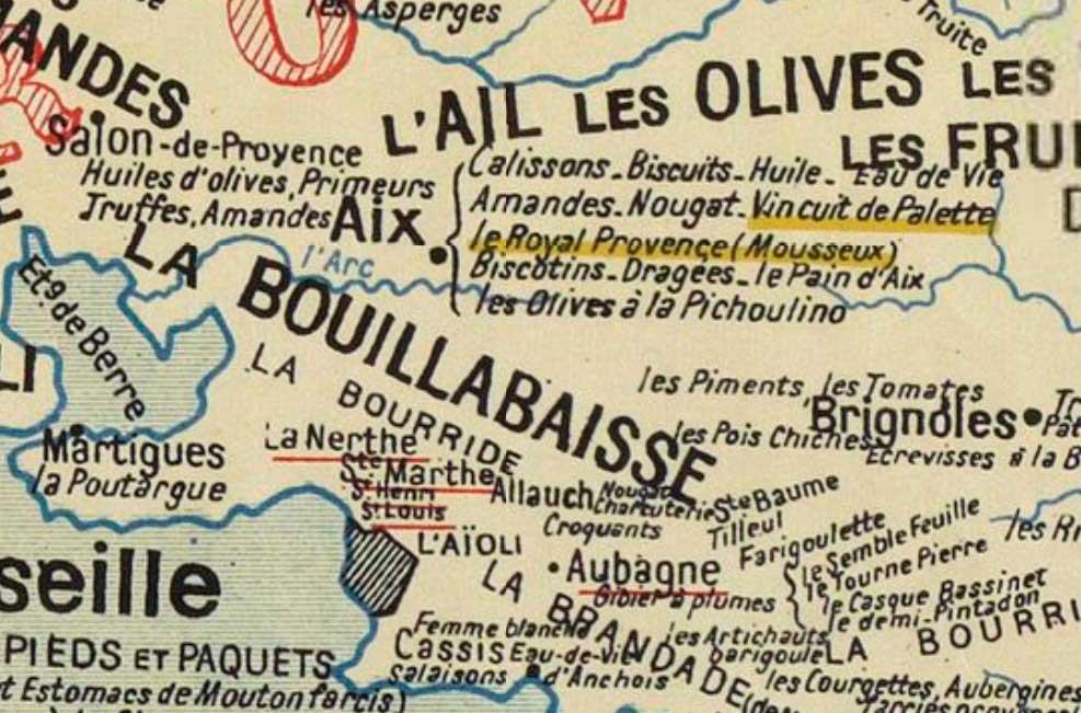 Carte gastronomique de 1929 (détail sur la région d'Aix) - Photo :© BNF / Gallica