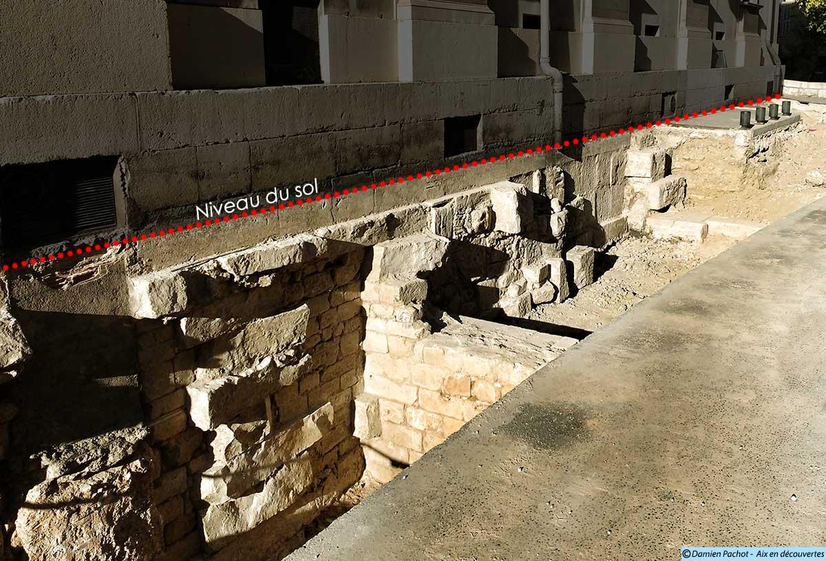 Les fondations du palais de justice d'Aix