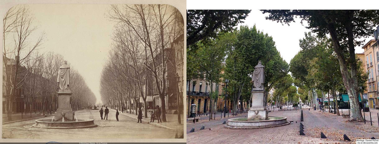 Le cours Mirabeau du temps de Gondran et de nos jours - Bibliothèque Méjanes, Aix-en-Provence, Cote : PHO. GON. (1), 14